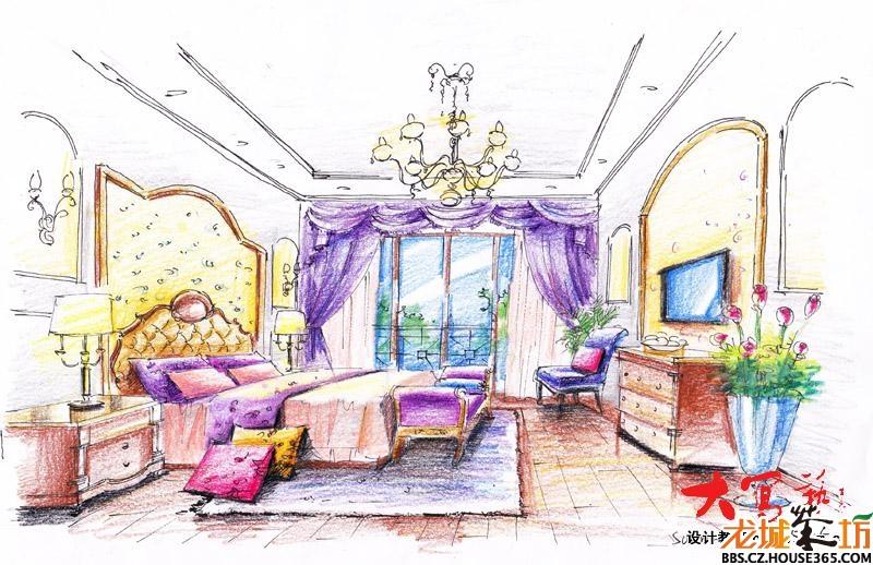 室内彩铅手绘效果图_家装大家谈