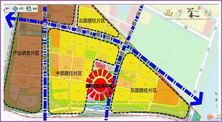 """[大学城北]未来将规划成""""一心,三轴,四片"""" 有图更明白         杭州市图片"""