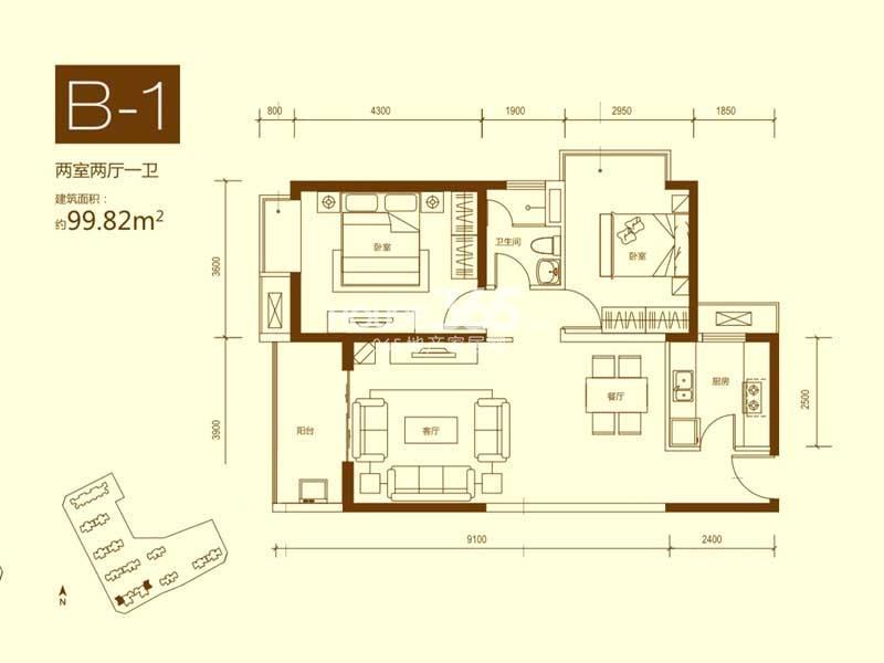 海伦国际26#楼户型01 三室两厅两卫 124.64㎡_西安_网