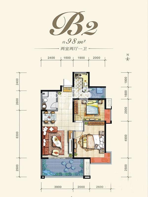 阳光城西西里B2户型平面图2室2厅1卫1厨 98.00㎡