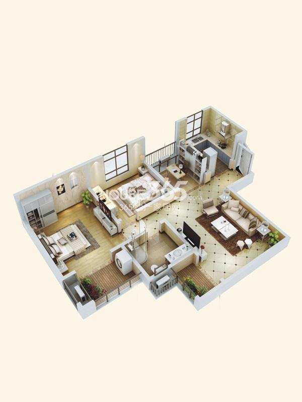 阳光城西西里C1户型立体图2室2厅1卫1厨 87.00㎡