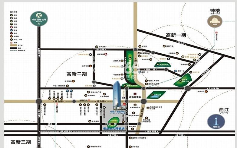 中铁西安中心交通图