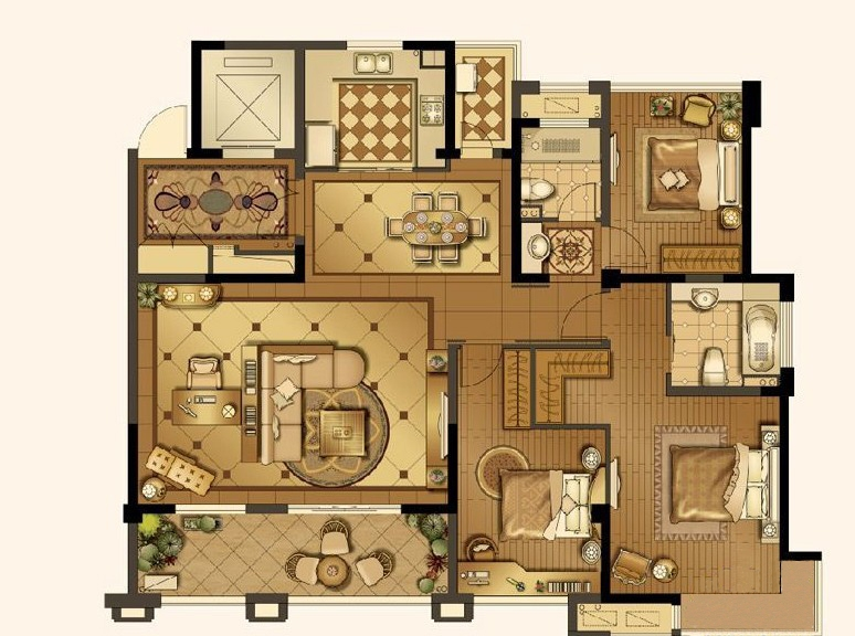 山湖湾一期高层标准层C2户型3室2厅2卫1厨 141.00㎡