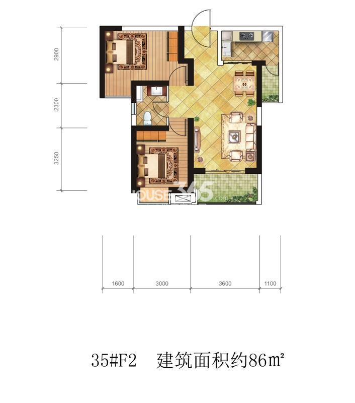 海伦国际35#楼F2户型 两室两厅一卫86㎡