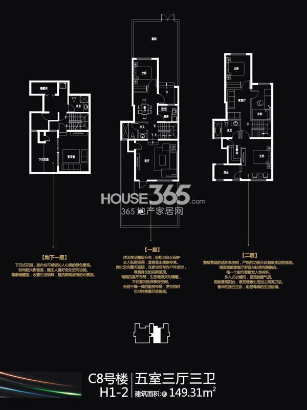 国润城C8#楼H1-2户型5室3厅1厨149.31㎡