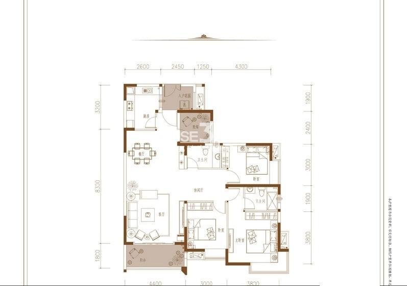 春风与湖2期11,12号楼标准层b8户型3室2厅2卫1厨 109.30㎡