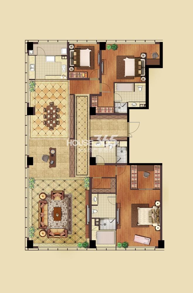 远洋国际中心1期2号楼标准层F3户型图 4室2厅2卫1厨(10.29)