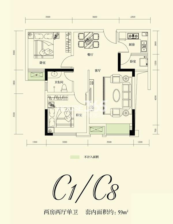融创凡尔赛花园一期c1 c8号标准层 59.42平米户型 2室2厅1卫1厨 59.