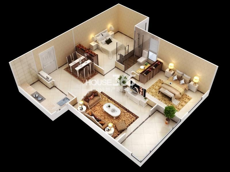 白桦林明天B户型 两室两厅一卫 90㎡