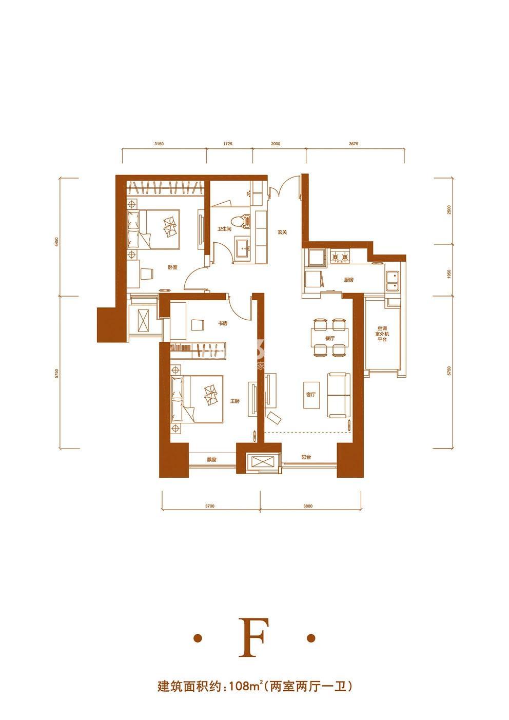 2室2厅1卫 108平米(售完)