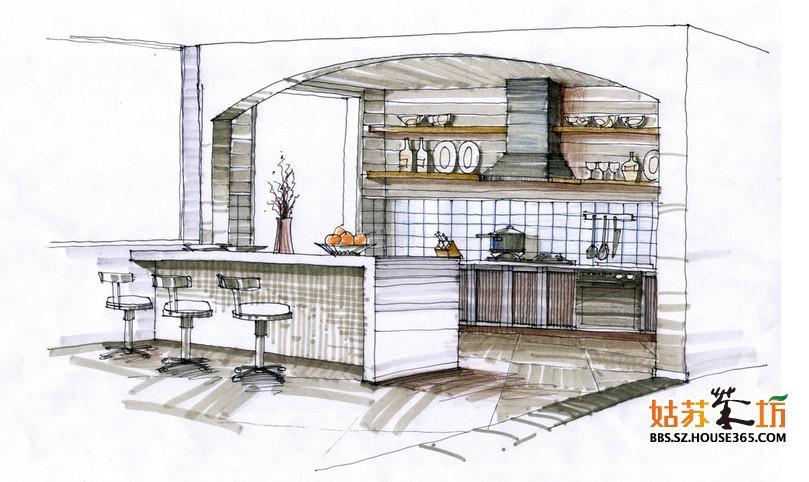 廚房設計手繪效果圖 清新設計