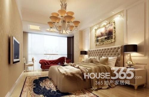 卧室装修效果图:暖色调小户型欧式卧室设计,简单的电视背景娘及吊顶