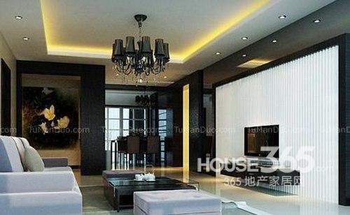 客厅电视墙效果图:黑白搭配的电视背景墙