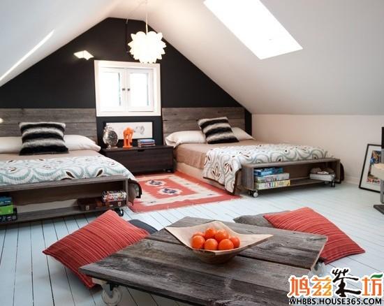 斜顶阁楼装修效果图 双胞胎的小世界