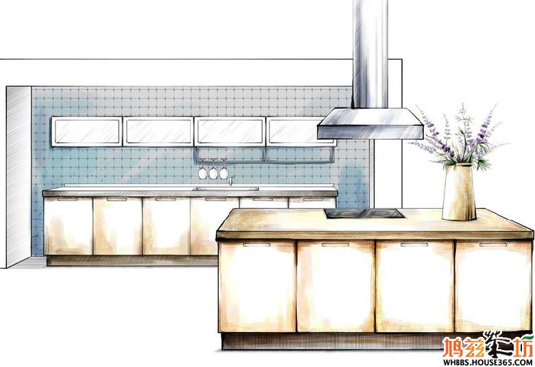 厨房设计手绘效果图