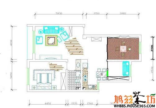两房平面结构图图片