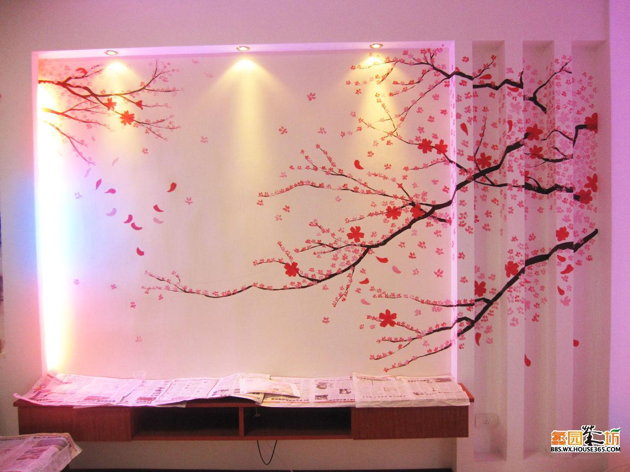 紫御东郡影视墙樱花墙绘;