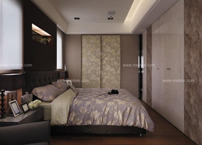 推拉门衣柜效果图:整个交换空间装修效果图卧室设计将其采用了素